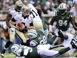 Une journée difficile pour Drew Brees contre la défensive des Jets
