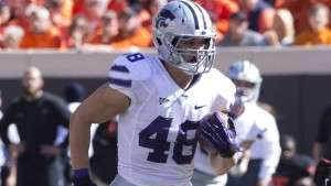 Oct 5, 2013; Stillwater, OK, USA; Kansas State Wildcats fullback Glenn Gronkowski (48) runs for a touchdown during the first quarter against the Oklahoma State Cowboys at Boone Pickens Stadium. Mandatory Credit: Richard Rowe-USA TODAY Sports